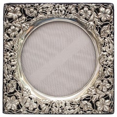 Rare Large Square Sterling Silver, Art Nouveau Picture Frame