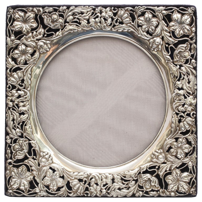 Rare Large Square Sterling Silver Art Nouveau Picture Frame For