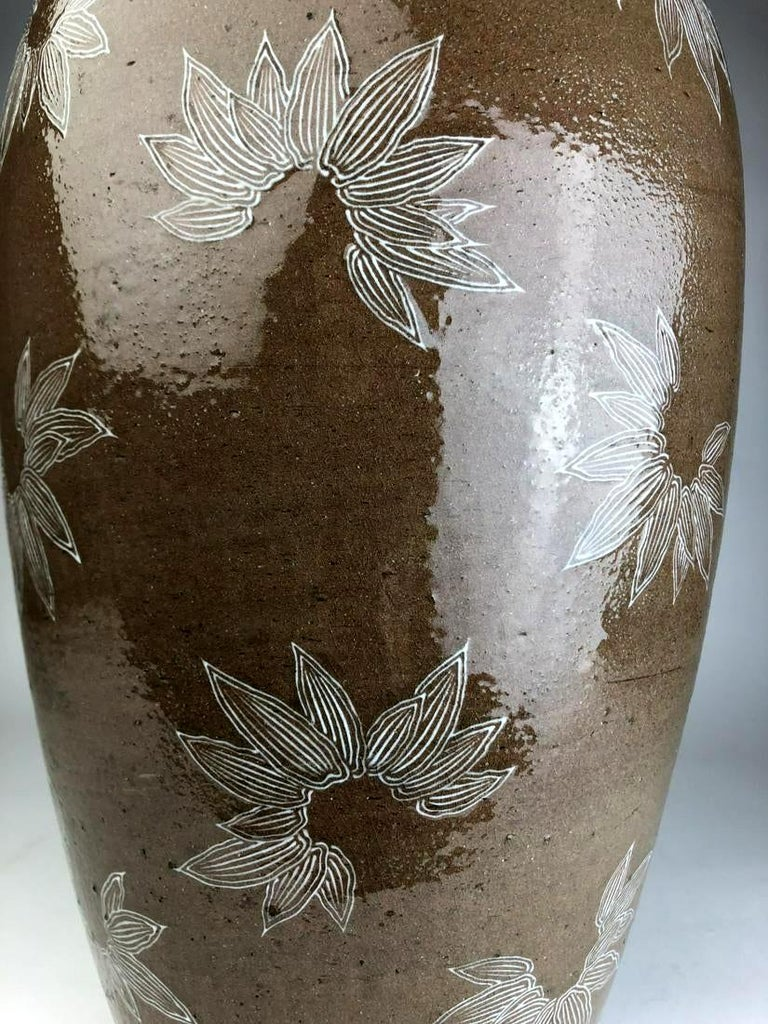 Japanese Rare Large Vase with White Slip Inlay Makuzu Kozan Meiji Period For Sale