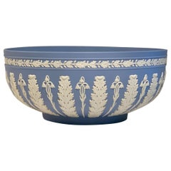 Rare Large Wedgwood Jasperware Blue Acanthus Bowl