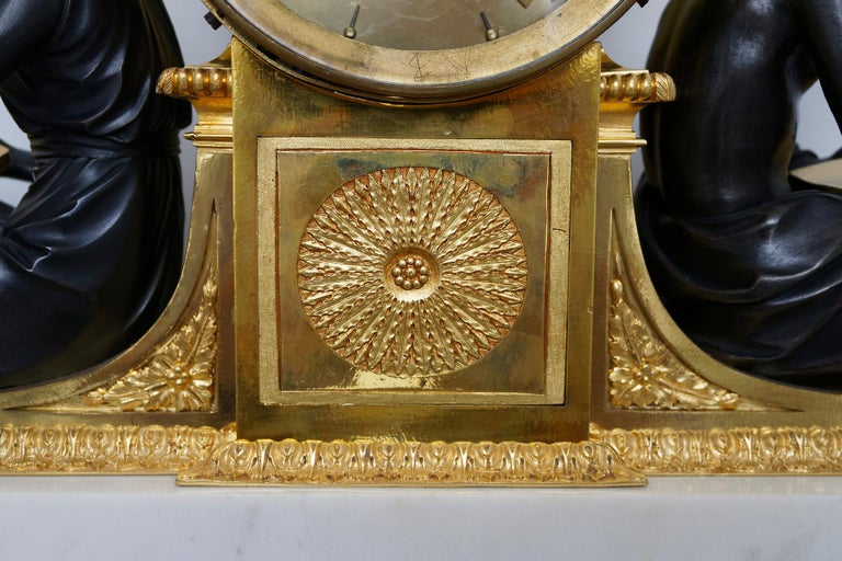 Rare Late 18th Century Neoclassical Louis XVI Ormolu Mantel Clock For Sale 4