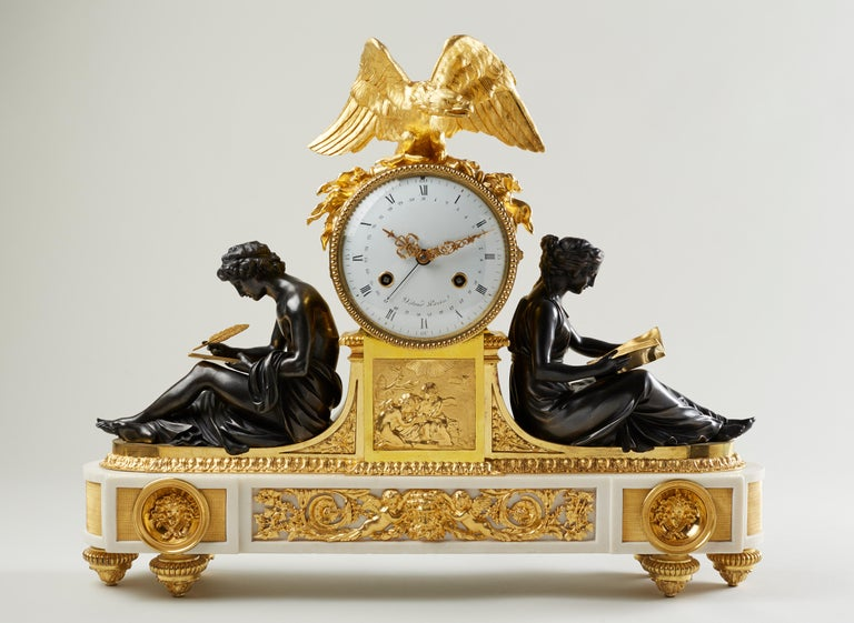 Gilt Rare Late 18th Century Neoclassical Louis XVI Ormolu Mantel Clock For Sale
