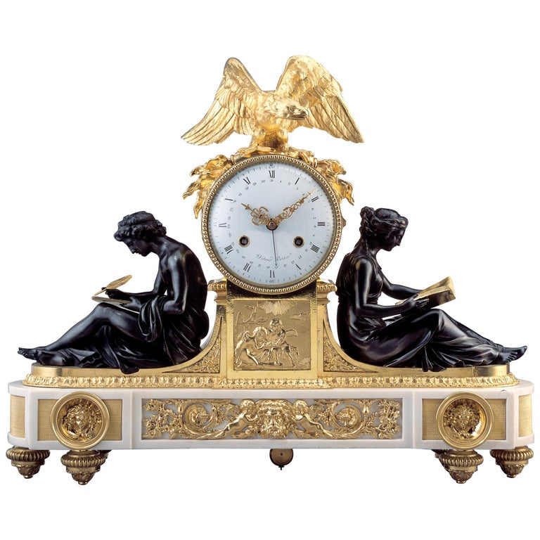 Rare Late 18th Century Neoclassical Louis XVI Ormolu Mantel Clock For Sale