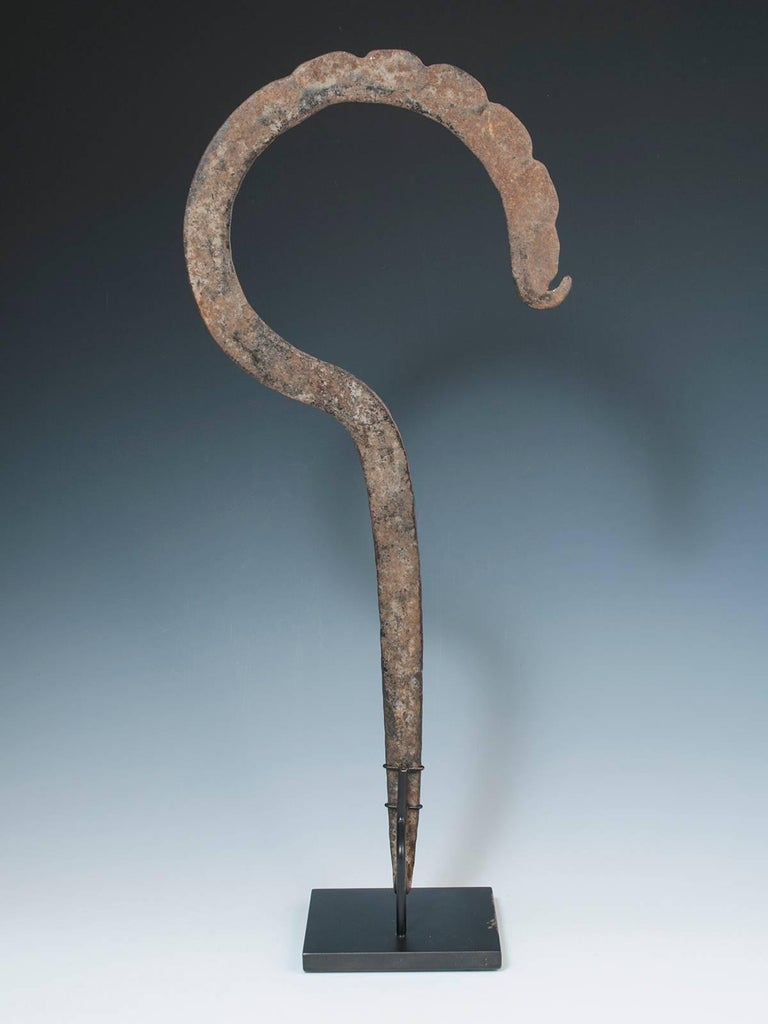Cameroonian Rare Late 19th Century Tribal Forged Iron Hook Currency, Cameroon For Sale