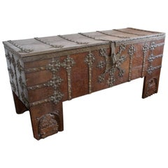 Rare Late Medieval 16th Century German Wrought Iron Oak Chest or Stollentruhe