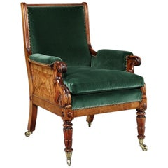 Rare Late Regency Yew Wood Library Bergère Armchair