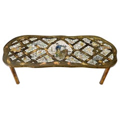 Rare Lattice Work Bronze Coffee Table by Philip and Kelvin LaVerne