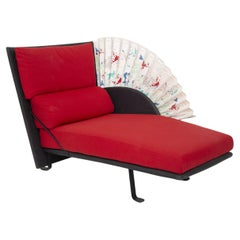 Rare Leather Chaise Longue by Flexform in Red Fan-Shaped Cotton, Branded