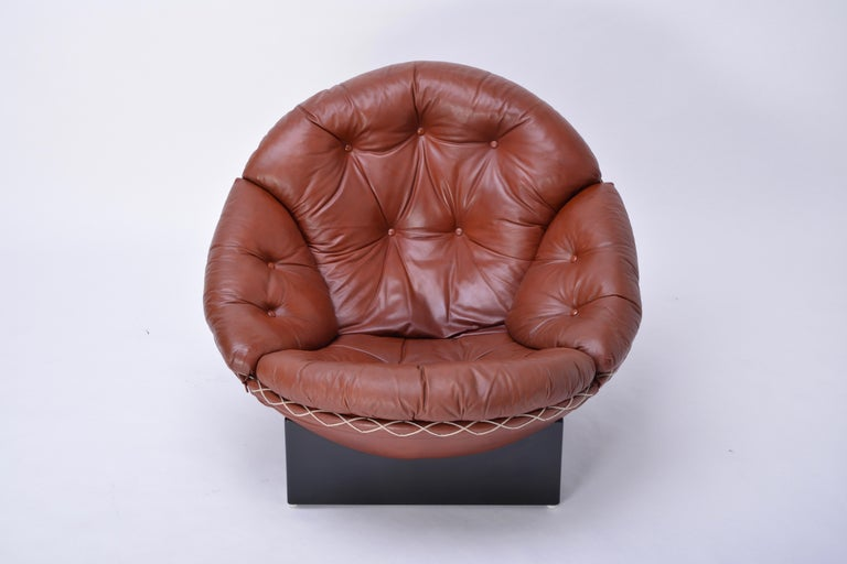 Rare Leather Lounge Chair by Illum Wikkelsø, 1970 For Sale 3