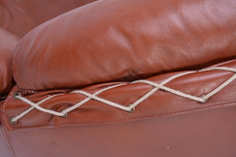 Rare Leather Lounge Chair by Illum Wikkelsø, 1970 For Sale 1