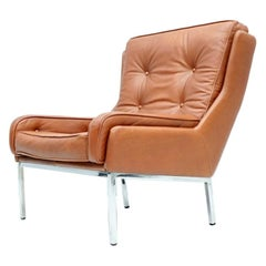Rare Leather Lounge Chair by Roland Rainer, 1960s