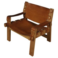 Rare Leather Lounge Chair from Denmark, circa 1970