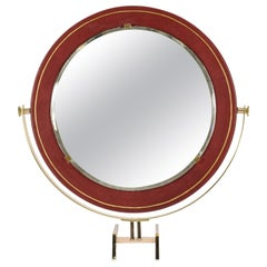 Rare Leather Table Mirror Attributed to Raphael Decorateur