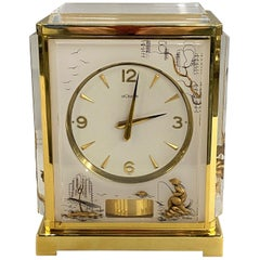 Rare Lecoultre White Marina Atmos Clock with Asian Style Panels