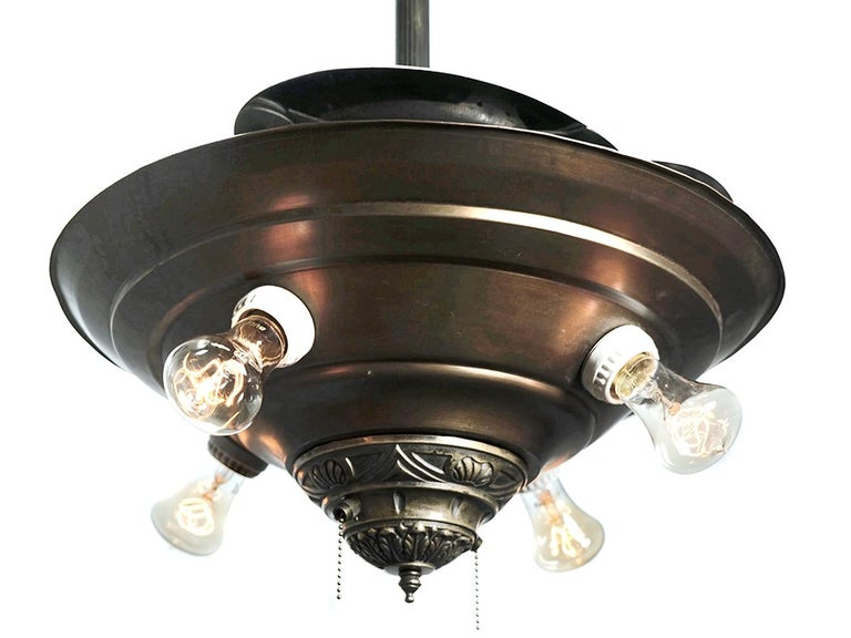 This was the first ever retractable blade ceiling fan to exist in history and an amazing example of Industrial ingenuity. Made from the 1920s-1930s. When the fan turns on, the centrifugal force causes the blades to extend outwards until fully