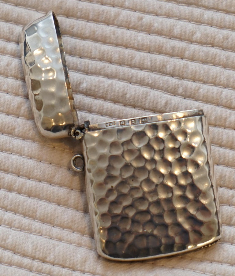 Rare Liberty London 1899 Solid Sterling Silver Vesta Case William Hair Haseler For Sale 2