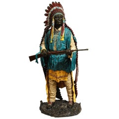 Near Life-Size Polychrome Bronze of a Native American Indian Chief After Kauba