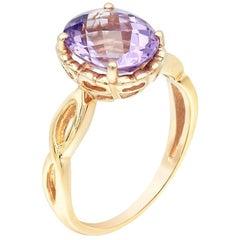 Rare Light Purple Amethyst Yellow Gold Rococo Style 14 Karat Ring
