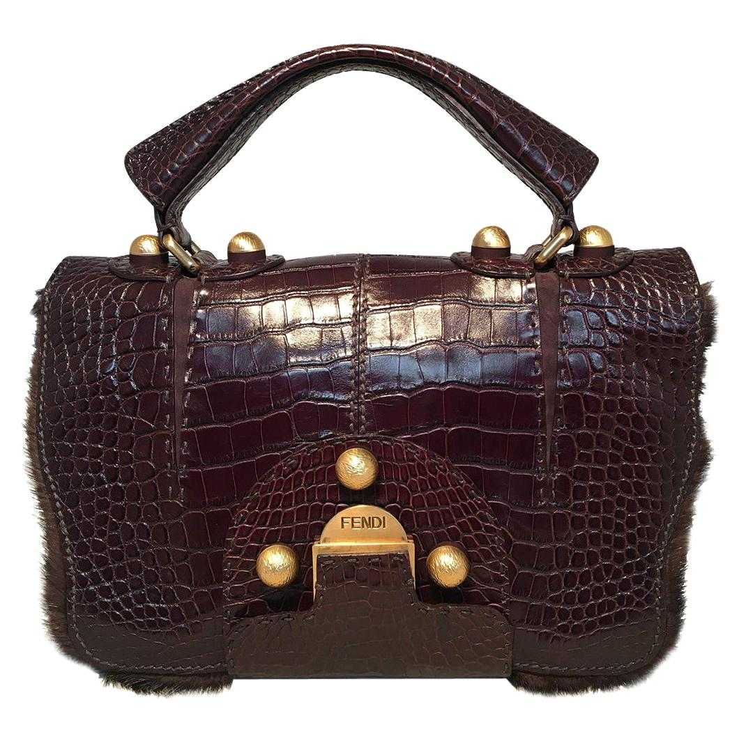Rare Limited Edition Fendi Brown Alligator and Mink Fur Satchel Handbag