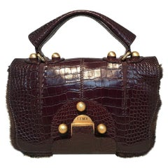 Rare Limited Edition Fendi Brown Alligator and Mink Fur Satchel Handbag