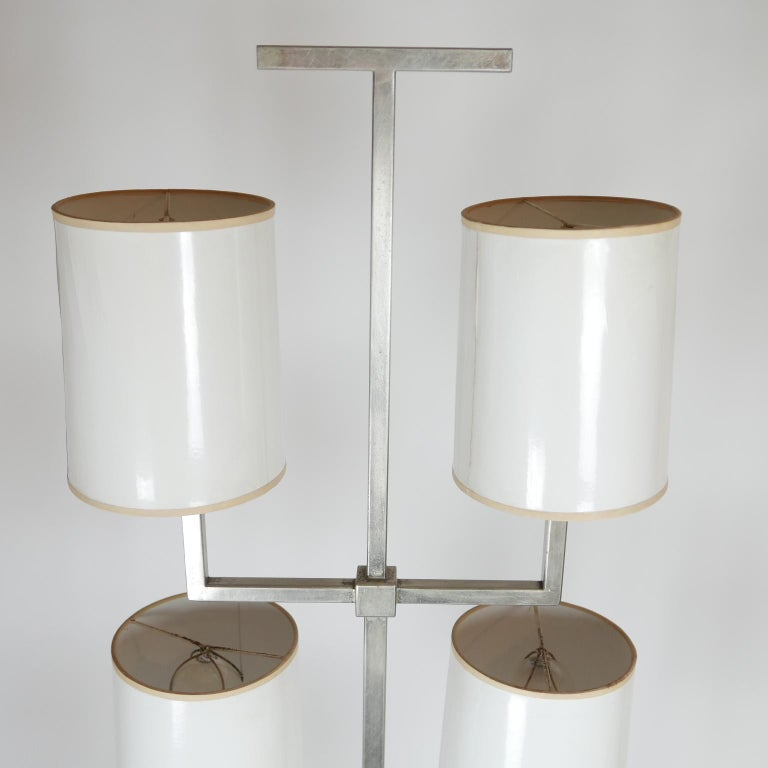 Rare Limited Production Nickel Tommi Parzinger Floor Lamp for Lightolier In Good Condition For Sale In Hudson, NY