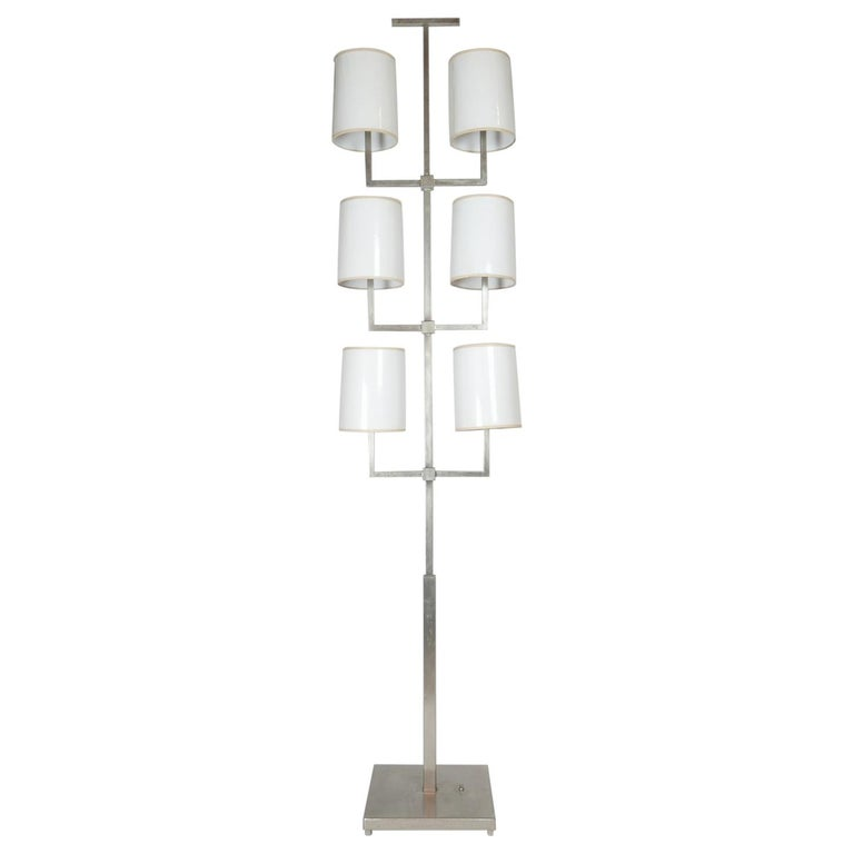 Rare Limited Production Nickel Tommi Parzinger Floor Lamp for Lightolier For Sale