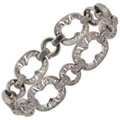 Rare Art Deco Link Design 2.10 Carat Diamond Platinum Bracelet