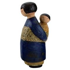 Rare Lisa Larson Figure in Glazed Ceramics, Japanese Mother with Child, 1970s