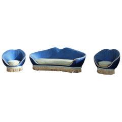 Living Room Sets Italian Midcentury Design  Restored Blu Cobalt Munari Federico