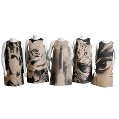 Rare London Series 1st Edition Poster Dresses Complete Set of Five Paper Dresses