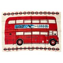 Rare London Tourist Memorabilia Tea Linen Routemaster 100% Irish Linen