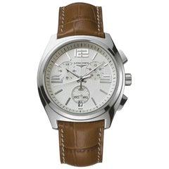 Rare Longines Stainless Steel Chronograph Wristwatch