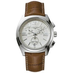 Rare Longines Stainless Steel Chronograph Wristwatch