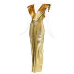 Rare Loris Azzaro Gold Lame Knife Pleated Evening Gown
