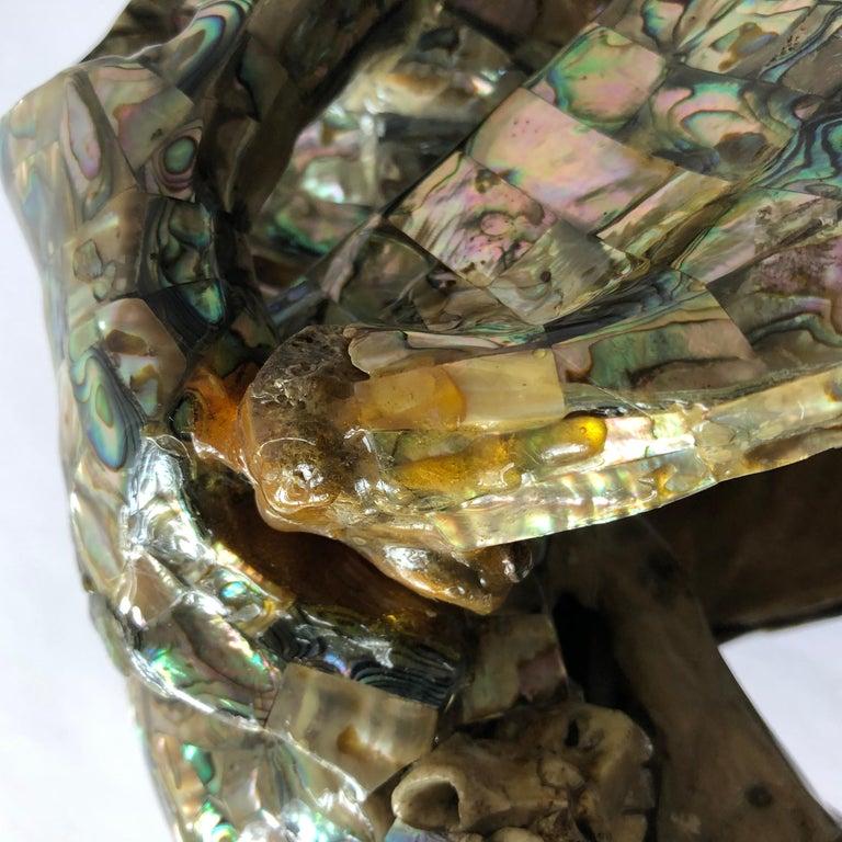 Rare Los Castillo Mexican Modern Abalone Horse Skull Sculpture For Sale 5