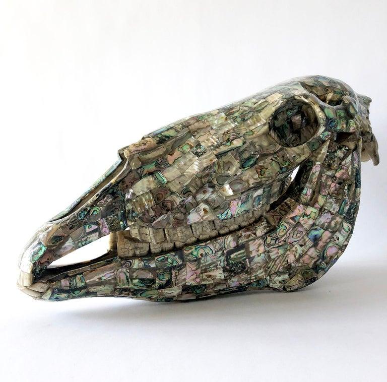 Mid-Century Modern Rare Los Castillo Mexican Modern Abalone Horse Skull Sculpture For Sale