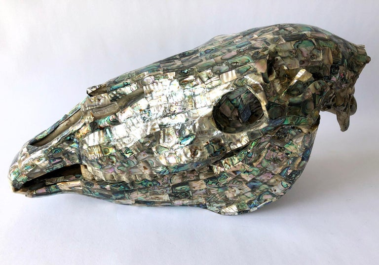 Mid-20th Century Rare Los Castillo Mexican Modern Abalone Horse Skull Sculpture For Sale