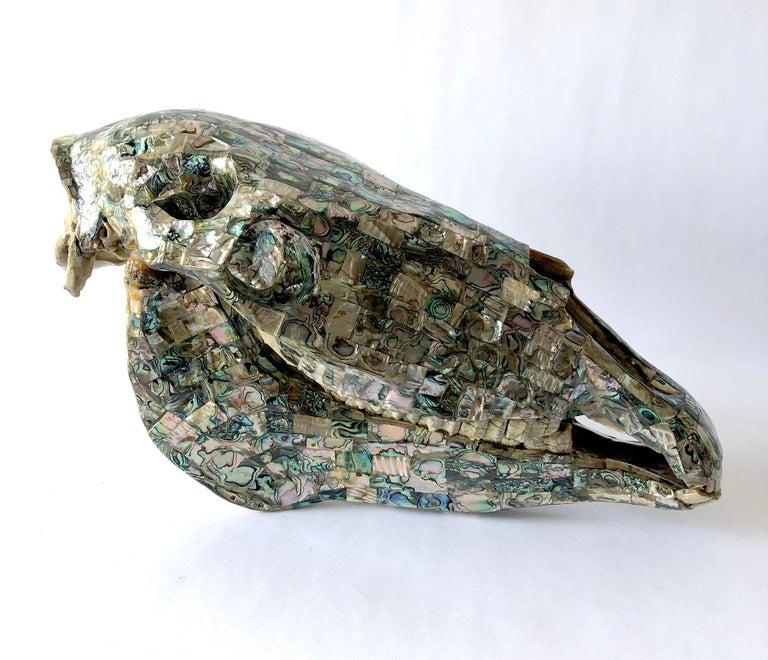 Rare Los Castillo Mexican Modern Abalone Horse Skull Sculpture For Sale 1