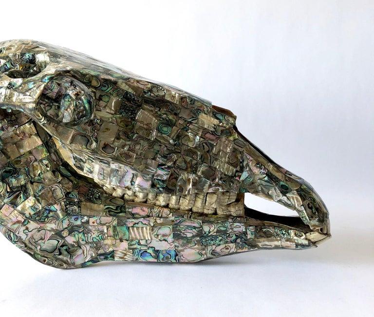 Rare Los Castillo Mexican Modern Abalone Horse Skull Sculpture For Sale 3