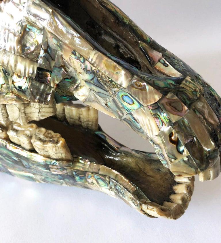 Rare Los Castillo Mexican Modern Abalone Horse Skull Sculpture For Sale 4
