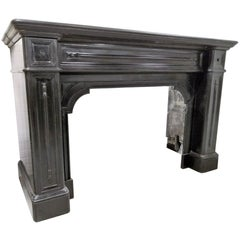 LOUIS PHILIPPE Fireplace in Black Marble Noir de Mazy  circa 1850