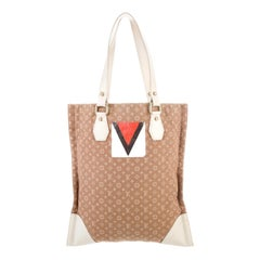 Rare LOUIS VUITTON Beige Monogram Canvas LV Logo Printed Shoulder Tote Bag
