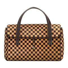Rare Louis Vuitton Damier Fur Calf Skin Leather LV Logo Handbag