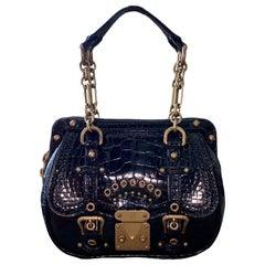 """RARE Louis Vuitton Exotic Black Alligator """"Les Extraordinaires"""" Evening Bag"""