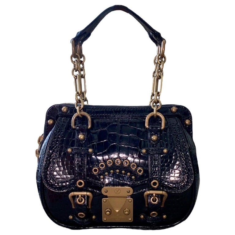 "RARE Louis Vuitton Exotic Black Alligator ""Les Extraordinaires"" Evening Bag  For Sale"