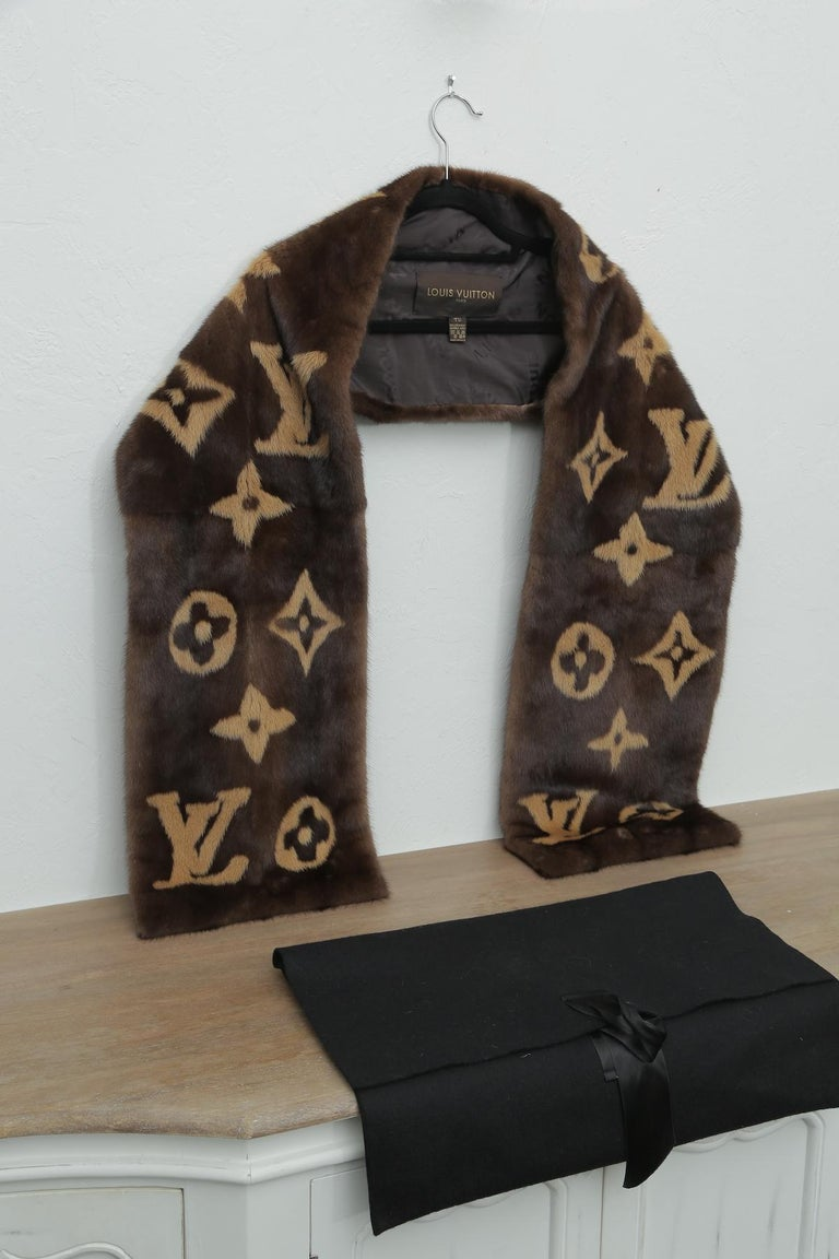 Louis Vuitton Limited Edition Monogram Mink Scarf. 73 L 10.50 W 5 H