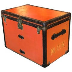 Rare Louis Vuitton Orange Trunk with Initials M.O.R, circa 1930s