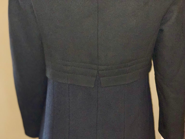 Louis Vuitton Paris Mink Collar Ladies Black Wool Coat Size 38 US Size 6 For Sale 6