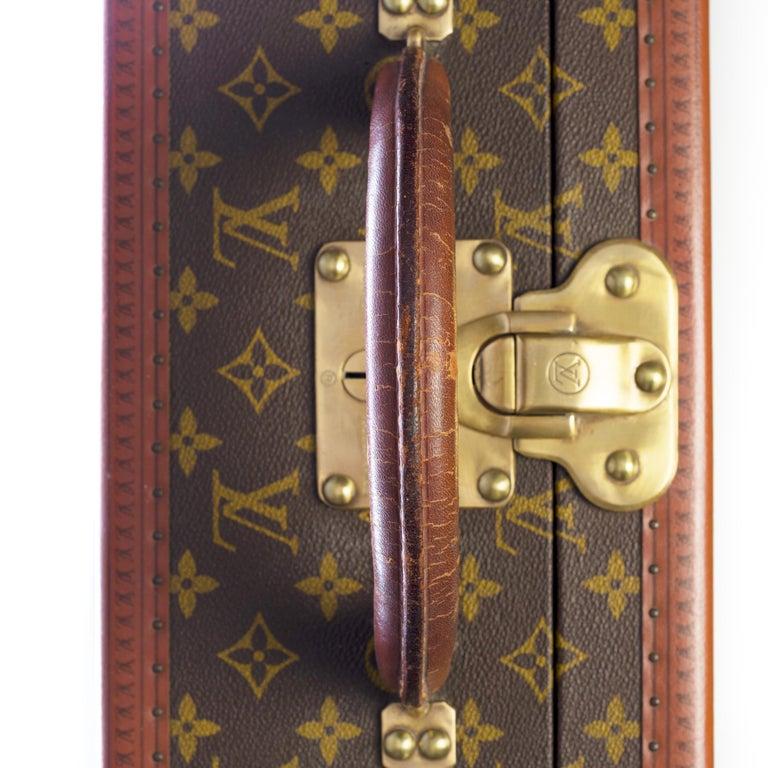 Rare Louis Vuitton Trunk Alzer 80cm Suitcase in brown monogram canvas For Sale 6