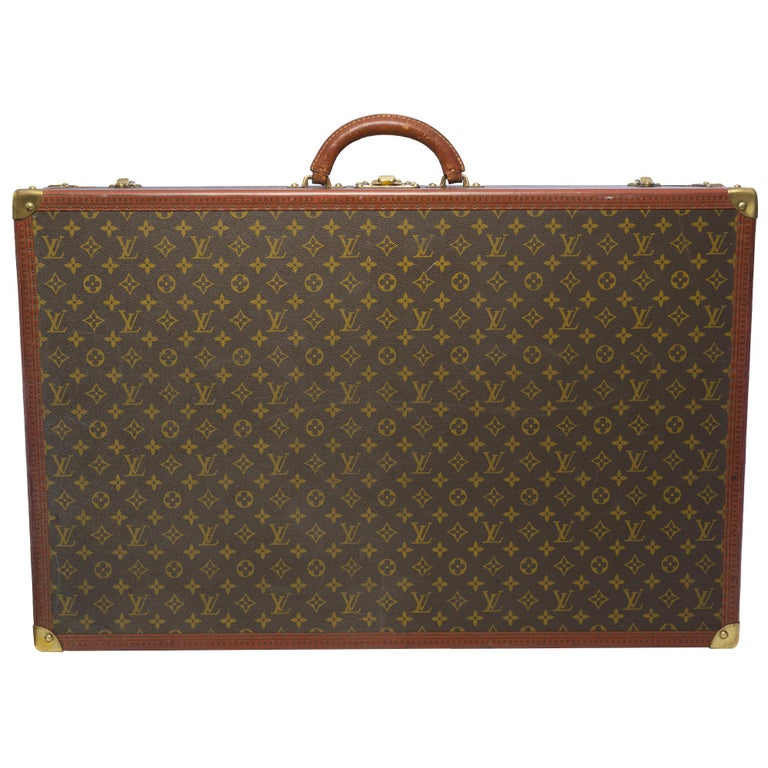 Brown Rare Louis Vuitton Trunk Alzer 80cm Suitcase in brown monogram canvas For Sale